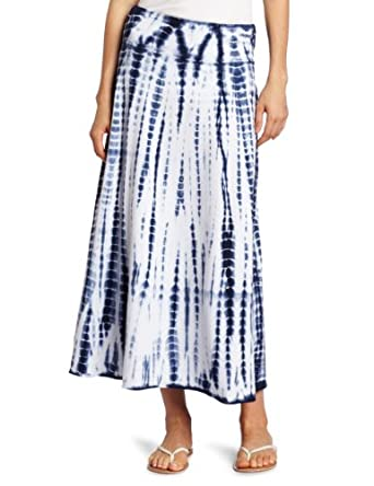 allen allen Women's Tie Dye Long Skirt, Lapis, X-Large