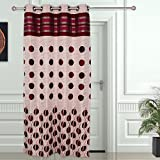 "Story@Home Eyelet Fancy Jacquard 1 Piece Door Ringtop Curtain Set- 46 "" X 84 "", 7 feet, Maroon"