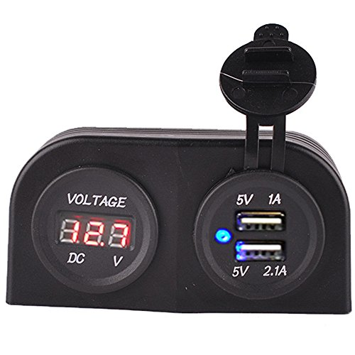 BreaDeep Tent Type Universal 5V 3.1A Dual USB Car Charger Sockets Power Outlet with LED Red Digital Display Panel Monitor Voltmeter Voltage Meter Gauge for Boat / Rv / Car / Motorcycle 12-24V DC