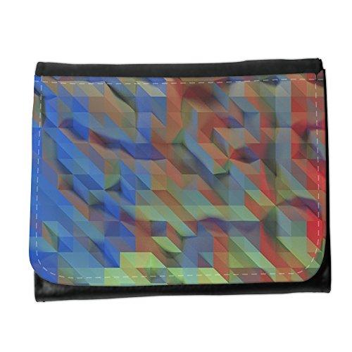 Cartera unisex // M00155617 Progetto Blu Rosso geometrica // Small Size Wallet