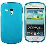 Kit Me Out FR - Samsung Galaxy S3 Mini i8190 III Android Housse / Coque / Étui de Protection en TPU Gel Givré Bleu