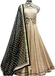 Adorn Mania Latest Bollywood Designer Solid Balglori Gold Silk Women's Gown