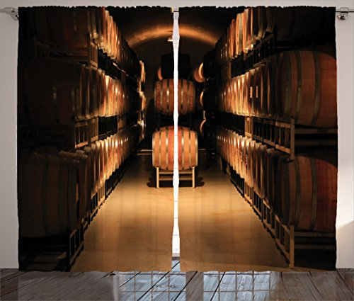 Ambesonne Winery Decor Collection, Wine Barrel Stacked in Cellar Aged Old Fermenting Quality Container Storage Basement Image, Living Room Bedroom Curtain 2 Panels Set, 108 X 84 Inches, Brown (Wine Cellar Decorations compare prices)