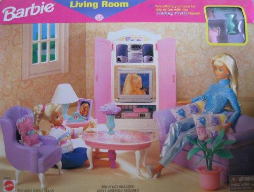 Barbie Living Room Playset Folding Pretty House 1997 Arcotoys Mattel Ebay