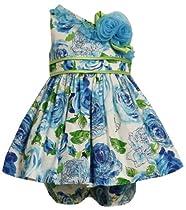 Size-24M, Blue, BNJ-6180R 2-Piece Glitter Floral Print Asymmetric One-Shoulder Dress,R16180 Bonnie Jean Baby-Infant Special Occasion Flower Girl Party Dress