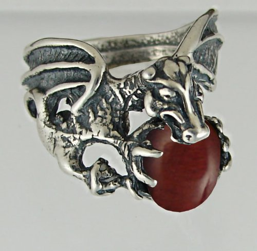 Dragon of Desire Sterling Silver Ring Accented with Genuine Red Tiger Eye Made in America