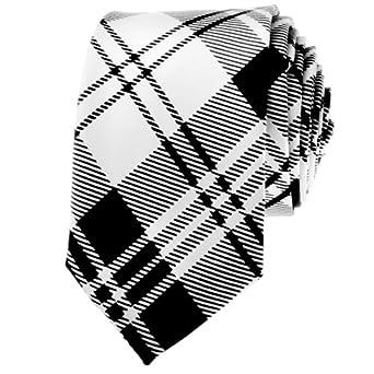 "TopTie Unisex New Fashion Black and White Plaid Skinny 2"" inch Necktie"