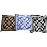 Lot Of Three Cushion Covers With Printed Folk Figures - Pure Cotton