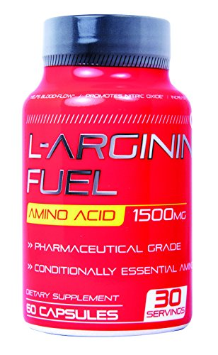 N.1 L-arginine Fuel 1500mg Increased Performance Boost Nitric Oxide Levels, Libido and Endurance and Energy Enhancement Conditionally Essential amino acid L Arginine Supplement Stamina - 60 Capsules (Nitric Fuel compare prices)