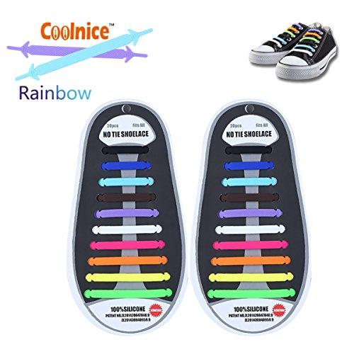 Coolnice Lacci Elastici Da Scarpe- per adulti e bambini fai da te 20pcs- ambientali sicuro impermeabile silicio colori Rainbow