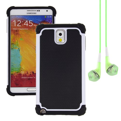 Hybrid Dual Layer Armor Defender Protective Case Cover For Samsung Galaxy Note 3 (At&T Verizon Sprint T-Mobile) + Vangoddy Green Headphone (White)
