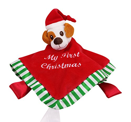 Baby's First Christmas Security Blanket Blankie Buddy Winkiepops LIMITED EDITION with Gift Bag Soft Cuddle Bud,Plush Toy with Puppy Head Unisex Super Cuddly Plush & Satin Red Lovey for Babies & Toddlers. Money Back Guarantee. - 1