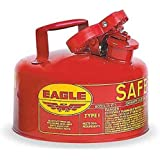 "Eagle UI-10-S Red Galvanized Steel Type I Gas Safety Can, 1 gallon Capacity, 8"" Height, 9"" Diameter"
