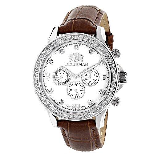 Diamond Watches For Men: Luxurman Liberty Diamond Watch White MOP 2ct