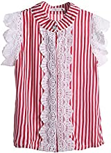 Pettigirl Girls Top Fashion Red Striped Lace Kids Shirts 3-6 Y