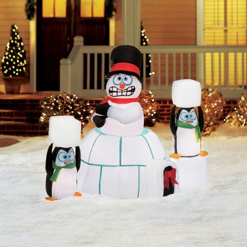 Christmas Decoration Lawn Yard Inflatable Airblown Animated Snowman In Igloo With Penguins 5' front-530537