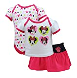 Disney Infant Girls Minnie Mouse Glitter Bow 3 Piece Onsie Set