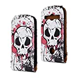 SuperStore_Electronics(TM) Stylish Printing Retro Style Durable Slim-Fit Flip PU Leather Protective Defense Stand Case Cover Compatible For Samsung S7710 Galaxy Xcover 2 (horrific blood skull)