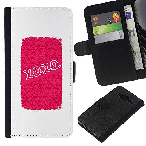 Baci Abbracci Amore di San Valentino Bianco - Portafoglio in pelle della Carta di Credito fessure PU Holster Cover in pelle case Per Samsung Galaxy Core Prime