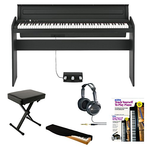 Korg Lp180 88 Key Digital Piano (Black) With Keyboard Bench, Full-Size Stereo Headphone, Dust Cover And Alfred'S Teach Yourself To Play Piano (Book/Dvd)