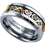 Mens Ring - Gold Celtic Dragon Inlay TUNGSTEN Carbide Comfort Fit Wedding Engagement Jewelry Band Ring ( Available in Most Sizes )