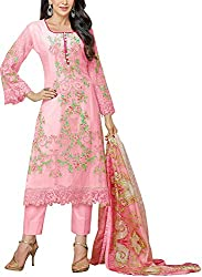 Go Traditional Women's Georgette Unstitched Dress Material (Pink)