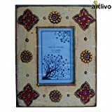 Artlivo Home Decor Table Decorative Gifting Ivory Floral Wooden Handcrafted Photo Frame