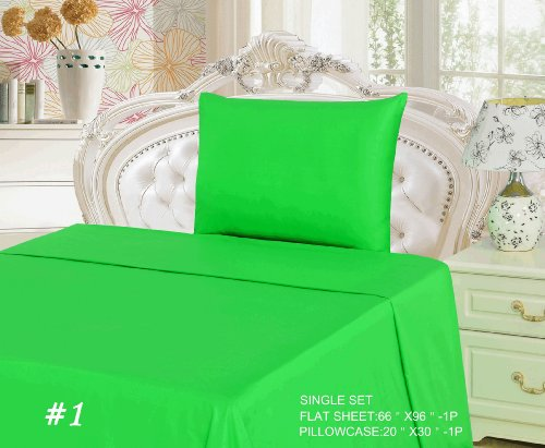 Tache 2 Piece 100% Cotton Bed Sheet Set Green Flat Sheet-Single front-481251