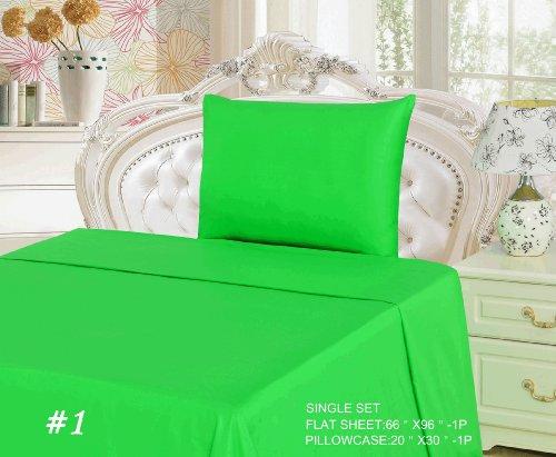 Tache 2 Piece 100% Cotton Bed Sheet Set Green Flat Sheet-Single front-596379