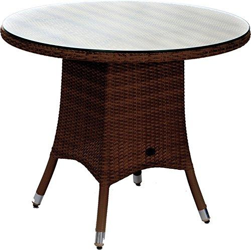 Zebra Tisch Mary 110 cm rund, Kunststoffgeflecht auf Aluminiumgestell, javabraun