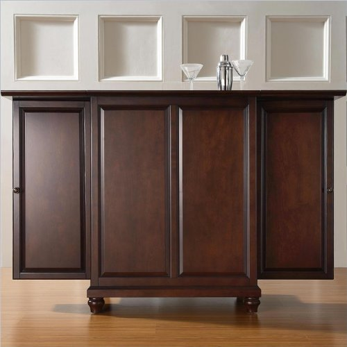 Crosley Furniture Cambridge Expandable Bar Cabinet in Vintage Mahogany Finish