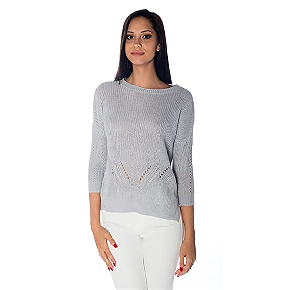 Acrobat Knit Pointelle 3 4 Sleeve Sweater in Stone