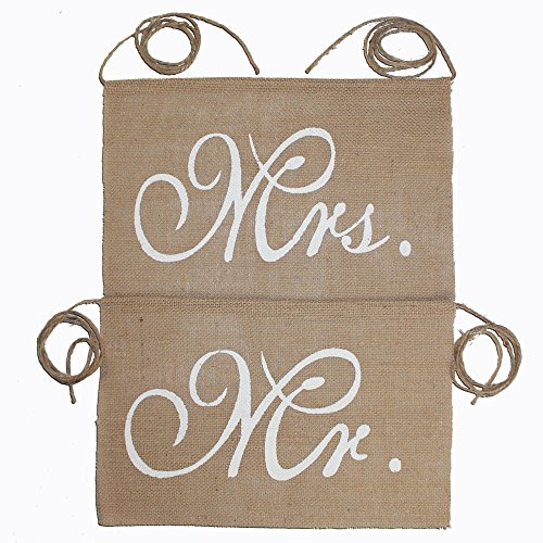 Koker Mr And Mrs Chair Burlap Bunting Banner Chair Signs Garland for Vintage Rustic Wedding Decoration and Wedding Photo Props