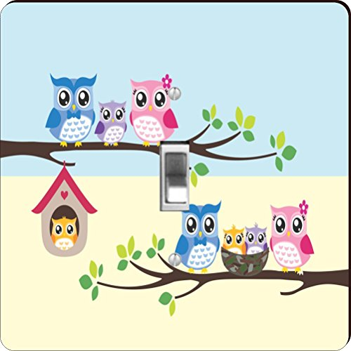 Rikki Knight RK-LSPS-9237 Owl Bird Family Illustration On Tree Design Light Switch Plate Cover (Owl Wall Plate Cover compare prices)