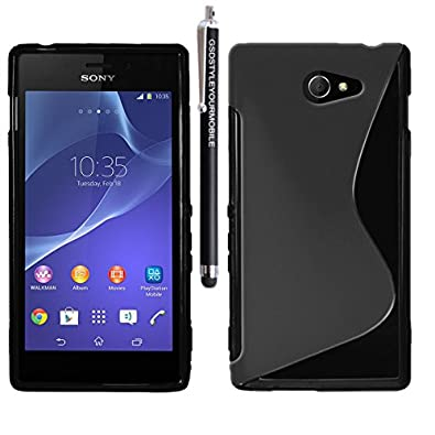 GSDSTYLEYOURMOBILE {TM} SONY XPERIA M2 / D2305 / D2306 PRINTED RUBBER SILICONE GEL SKIN CASE COVER + STYLUS (Black S Shape Gel)