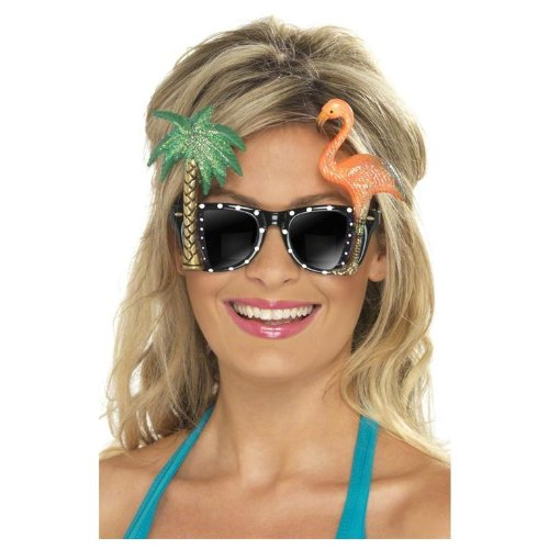 Smiffy's Women's Specs with Flamingo and Palm Tree, Multi, One Size - 1