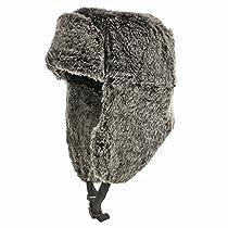 RUSSIAN TROOPER Black Pilot AVIATOR Soft Faux Fur Hat Trapper Ushanka Men and Women 7 1/8