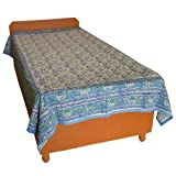 Block Printed Floral Bagru Print Design Cotton Flat Single Bed Sheet - B00GSSOPH2