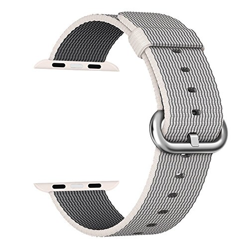 Apple Watch cinturino ,PUGO TOP Woven Nylon Replacement Wrist cinturino Bracelet Strap for Apple Watch/Apple Watch Series 2 (42mm , Perla )