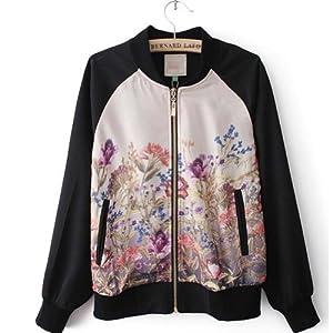 Buy Retro Floral Jacket Was Thin Short Coat Jacket Baseball Uniform Jacket Size S by Soulmeaw Sweater