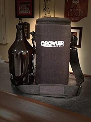 Growler Gear - Insulated Beer Growler Cooler Bag and Carry Case, Single Bottle, Black