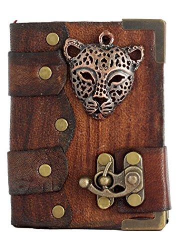leopardo-ciondolo-faccia-marrone-annata-diario-in-pelle-fatto-a-mano-leather-taccuino-sketchbook-not