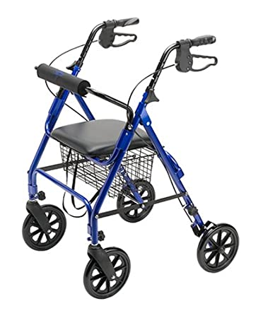 Medline Folding Rollator Walker with Folding 8-inch Wheel, Blue