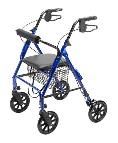 Medline Folding Rollator Walker with Folding Wheels, Blue