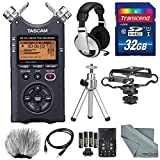 Tascam DR-40 4-Track Handheld Digital Audio Recorder with Microphone Shockmount, Dedicated Windscreen, along with Deluxe Accessory Bundle Fibertique Cleaning cloth