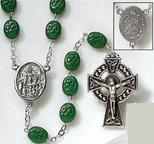Blessed By Pope Francis XVI Celtic Irish Shamrock Rosary Made in Italy By Catholic Workers Green Glass Beads