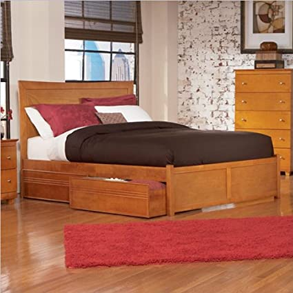 Caramel Latte Atlantic Furniture Miami Modern Platform Bed with Flat Panel Footboard