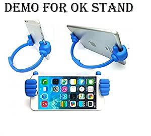 Alba Case Premium Combo of Mobile Holder Mount ''OK Stand'' Blue and 3.5MM Stereo Dynamic White Earphones / Ear Buds With Mic and Volume Control Button Compatible with Sony Xperia E4 by Albacase™