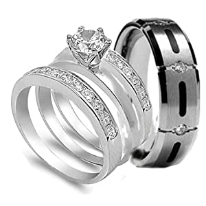 4 Pcs His Hers STAINLESS STEEL TITANIUM Engagement W