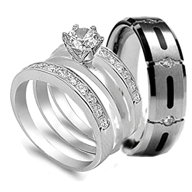 4 pcs His & Hers, STAINLESS STEEL & TITANIUM Matching Engagement Wedding Rings Set. AVAILABLE SIZES men's 7, 8, 9, 10, 11, 12, 13; women's set
